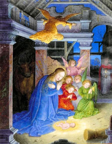 16 British library Nativity at night Description: The Nativity, at night Title of Work: Sforza Hours Author: - Illustrator: Horenbout, Gerard Production: Milan, circa 1490; Flemish insertions, 1517-1520 Language/Script: Latin / -